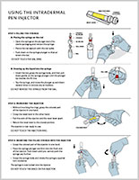 Illustrated instructions for the use of an intradermal pen injector